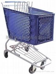 Plastic supermarket trolley