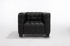 现代经典库布斯沙发,方块真皮缝制