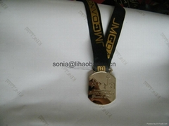 Metal medal with ribbon