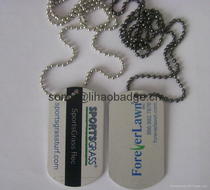custom dog tag, dog tag with ball chains, pet tag with printed logo,aluminum tag