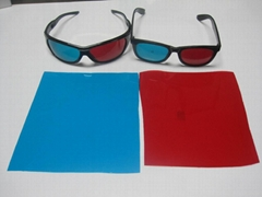 3D red and blue lenses