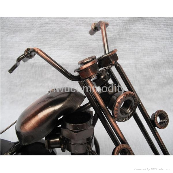 Plating Iron Toy Motorcycle Office Ornament 3