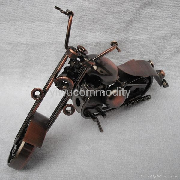 Plating Iron Toy Motorcycle Office Ornament 4