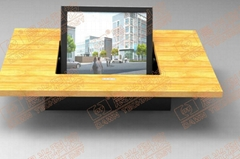Motorized monitor for audio video conference table