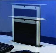LCD monitor motorized pop up mechanisms