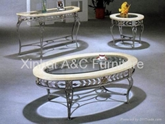 Modern Glass Top Powder Coated Metal Coffee Table