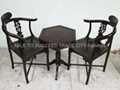 Rosewood table with 2 corner chairs set
