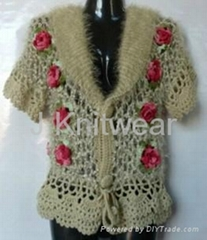 Flower Crocheted Acrylic Sweater