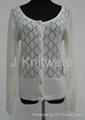 Women Open work Knit Mohair Sweater