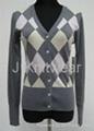Women Argyle knit Cashmere like Intarsia Knitwear 1