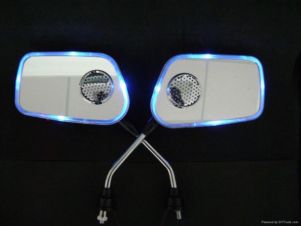 摩托車后視鏡音響帶彩燈后視鏡MP3 3