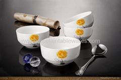 4pcs Fine bone china rice bowl set