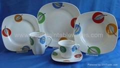 20pcs ceramic square tableware