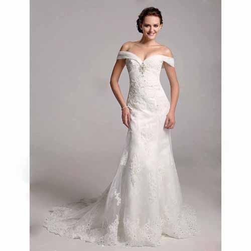 Trumpet mermaid off the shoulder organza over satin for Over the shoulder wedding dress
