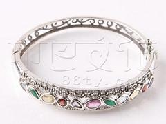 供应批发印度时尚精美嵌宝石银手镯