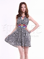 供应印巴文化女装时尚豹纹钉珠吊带裙批发加盟
