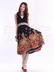 印巴文化女装纯棉时尚吊带裙批发