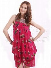 印巴文化女装时尚孔雀钉珠连衣裙批发