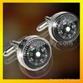 metal mens compass cufflink  accessory