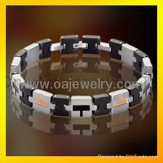 mens 316l stainless steel promise bracelet  jewellery with gold plated 1