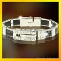 mens 316l stainless steel promise bracelet  jewellery with gold plated 4