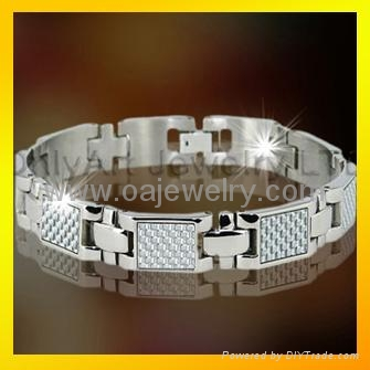 mens 316l stainless steel promise bracelet  jewellery with gold plated 5