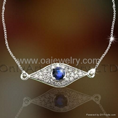 sell sterling si  er necklace pendant with AAA cubic zircons, best quality