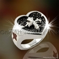 good quality fashion 925 solid silver ring with rhodium plated and CZ 1