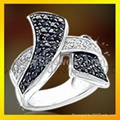 good quality fashion 925 solid silver ring with rhodium plated and CZ 2