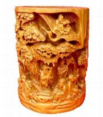 黄杨木雕笔筒