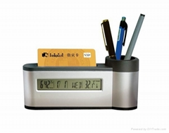 Pen holder calendar with name card