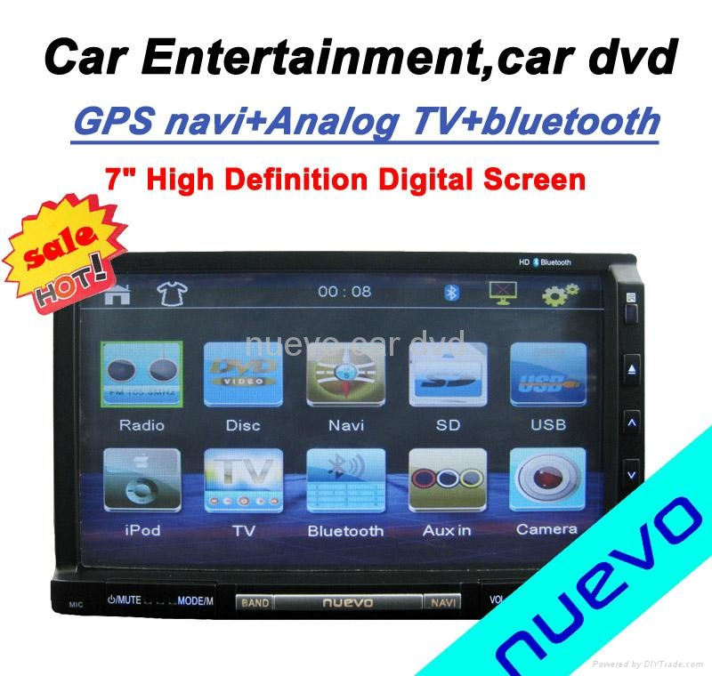 "Universal Car Double Din DVD player GPS ATV 7"" TFT LCD 16:9 panel 1"
