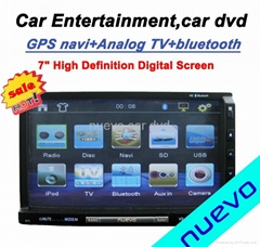 "Universal Car Double Din DVD player GPS ATV 7"" TFT LCD 16:9 panel"