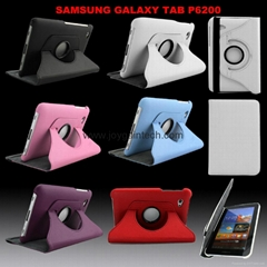 360 degree Rotary Samrt leather case for SAMSUNG Galaxy Tab P6200/6800/7300