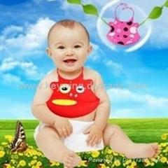 新款硅胶婴儿口水兜
