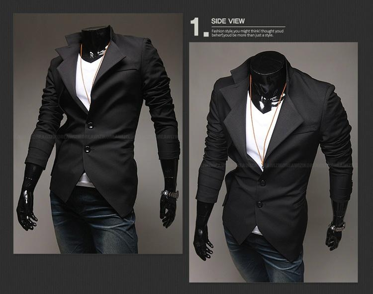 casual men suits slim male leisure suits Fake two pieces Jackets ...