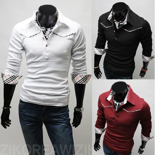 Mens casual polo shirt male's slim fit polos shirt facing plaid ...