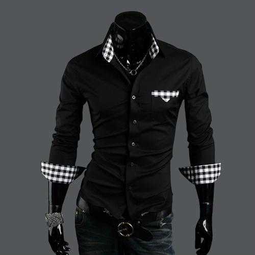 Men 39 s plaid shirt male long sleeve shirt slim fit shirt for Black and white shirts men