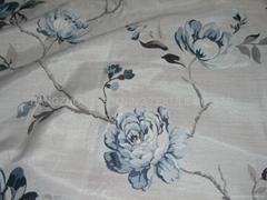 涤粘色织大提花窗帘布