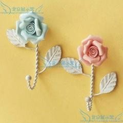 細瓷玫瑰花挂鉤