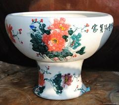 景德镇陶瓷高脚养鱼缸