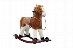 Plush rocking horse with wheels