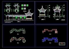 四角亭--游廊施工圖