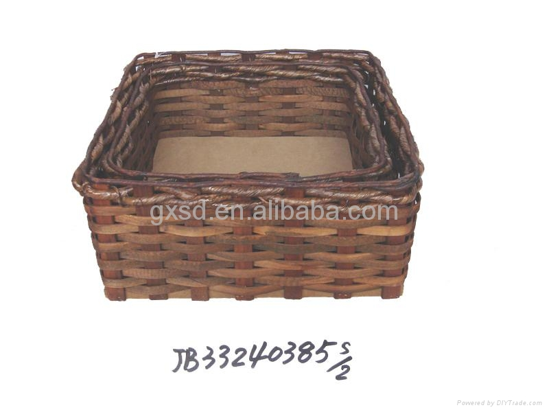 Handmade Basket Companies : Handmade brown wooden chip food gift basket set of