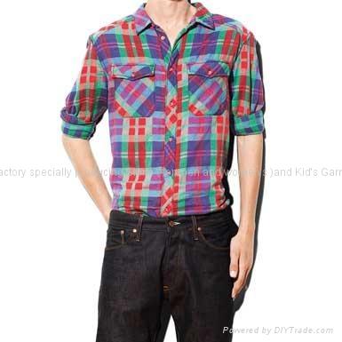 红格子长袖衬衫 1