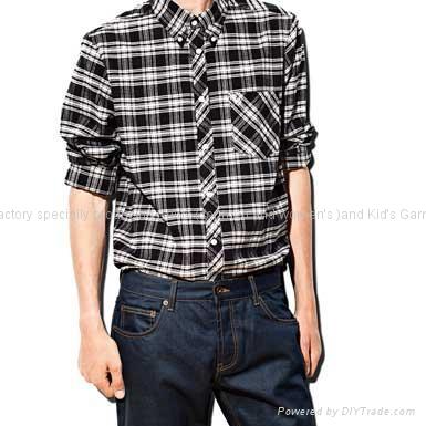 黑色格子长袖衬衫 1