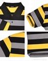 莱卡棉黑灰黄细条T恤