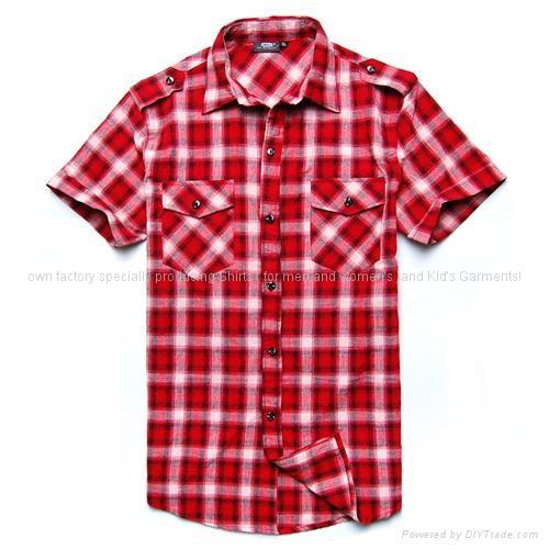 红色短袖格子衬衫 1