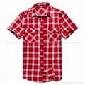 红色短袖格子衬衫