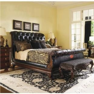 Gentil Neo Classical French Style Furniture Solid Wood Genuine Leather Bed